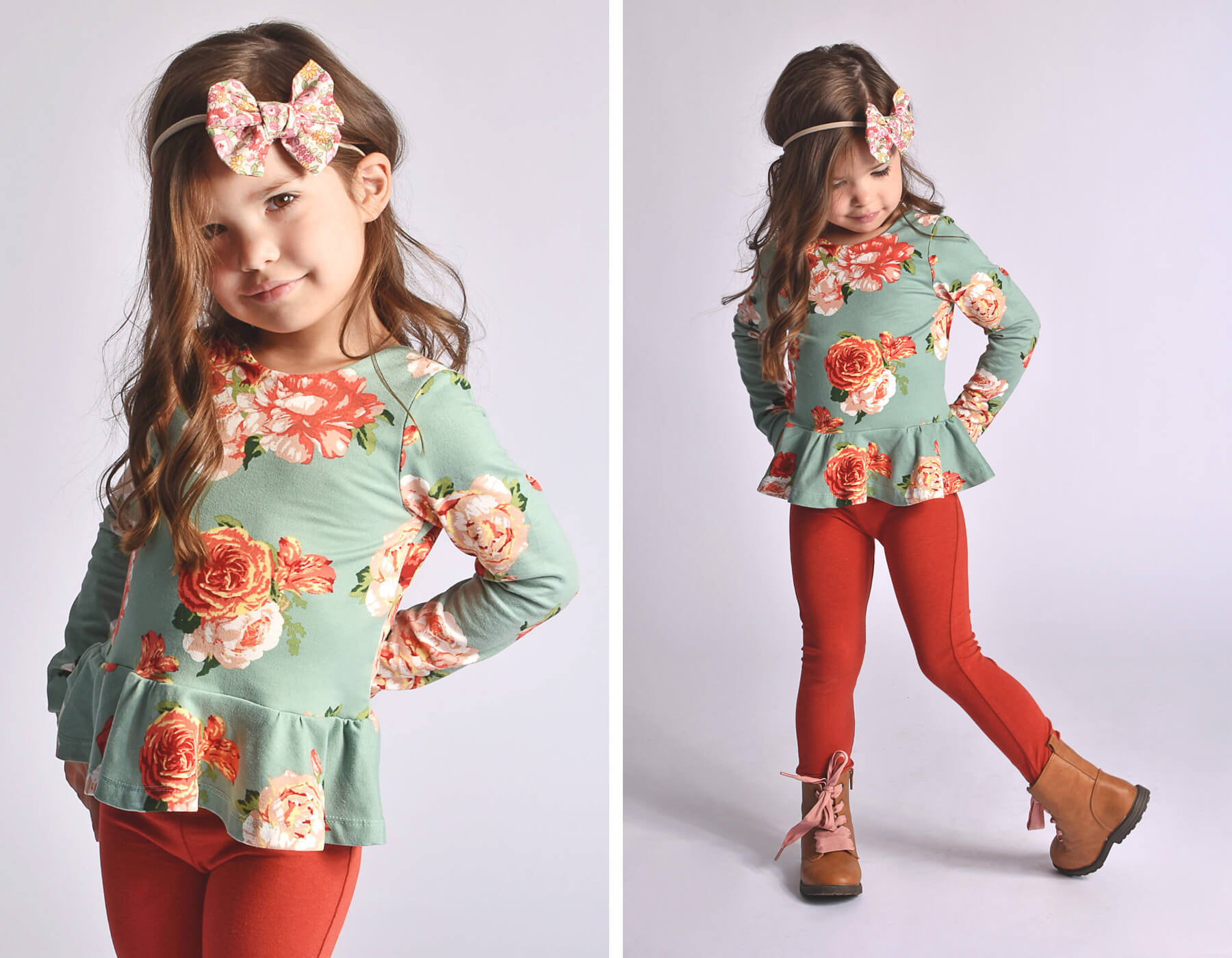 peplum-green-floral-leggins-rust